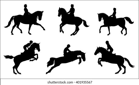 Show jumping and dressage. Silhouettes of horse riders. Vector
