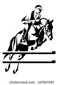 Show jumping horseman design - black and white equestrian sport emblem