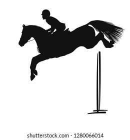 Equestrian, show jumping. Silhouette of a rider with horse jumping over an obstacle.