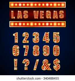 Show lamps red alphabets and numbers on blue background .Vector