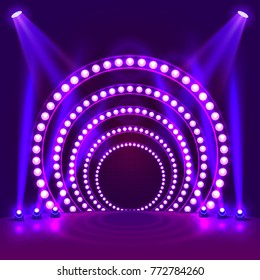 Show light podium purple background. Vector illustration