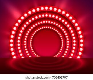 Show light podium red background. Vector illustration