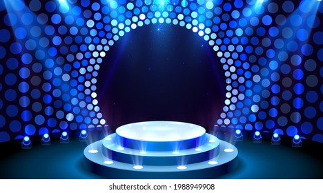 Show light, Stage Podium Scene with for Award Ceremony on blue Background. Vector illustration