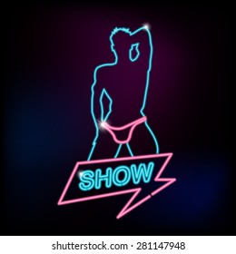 Show neon sign with silhouette of sexy man