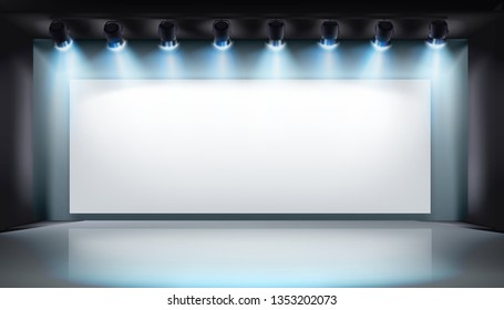 Show on the stage. Exhibition in the gallery. Vector illustration.