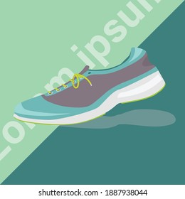 Show shoes for running green and black tone and traveling. It has a two-tone background and oblique text on the back.
