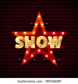 Show star banner text on the background of the brick wall. Vector illustration