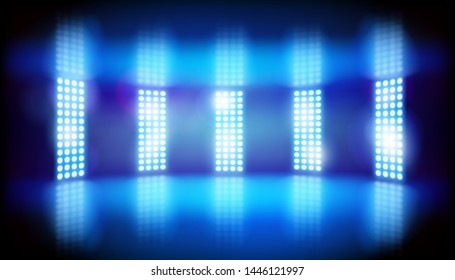 Show in a television studio. Lights on the stage. Blue background. Vector illustration.