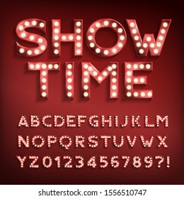Show Time alphabet font. Letters and numbers with light bulbs and shadows. Vector typeface for your typography design.