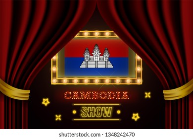 Show time board for performance, cinema, entertainment, roulette, poker of Cambodia country event. Shining light bulbs vintage of Cambodia country name