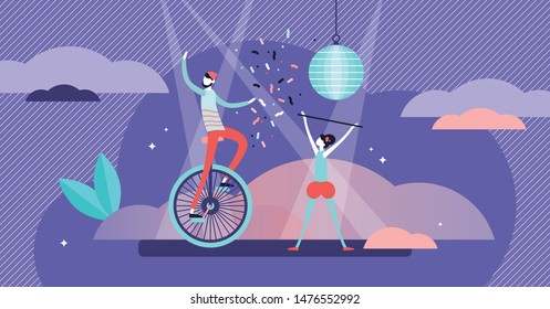 Show vector illustration. Flat tiny entertainment performance persons concept. Universal musical, dance, circus or theater visualization. Symbolic festive culture concert with professional artists.