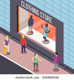 Showcase of fashion clothing store with dummies isometric background with persons watching vitrine from street vector illustration