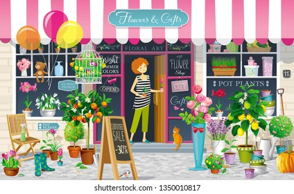Showcase of the Flower Shop with flower girl and a collection of the flowers, pot plants, citrus trees, garden tools. Vector drawing