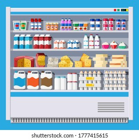 Showcase fridge for cooling dairy products. Different colored bottles and boxes in fridge. Refrigerator dispenser cooling machine. Milk, yogurt, sour cream, cheese, eggs. Flat vector illustration