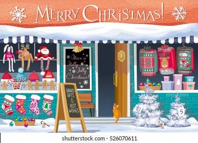 Showcase Gift Shop with Christmas symbols - greeting card, banner or poster for sales and other Christmas and New Year events.