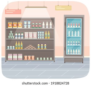 Showcase with groceries in the store. Fridge for cooling dairy products. Different colored bottles and boxes on shelves. Refrigerator dispenser cooling machine, shop equipment, goods in supermarket