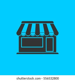 Showcase Kiosk icon flat. Simple vector black pictogram on blue background