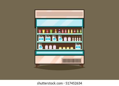 Showcase, refrigerator dairy products. Milk, yogurt, fresh and natural products. Supermarket Interior. Cold, frost, glass. Shelves with goods. Flat style