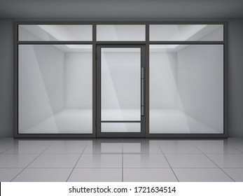 Showcase store windows realistic composition with empty office or shop in grey colors vector illustration