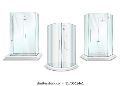 Shower cabin realistic 3d collection with isolated images of glossy shower units with doors on blank background vector illustration