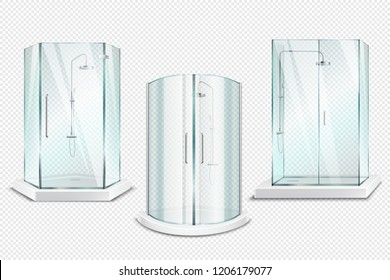 Shower cabin transparent realistic 3d collection of isolated shower stalls with glossy doors on transparent background vector illustration