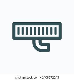 Shower drain isolated icon, floor bathroom drain linear vector icon