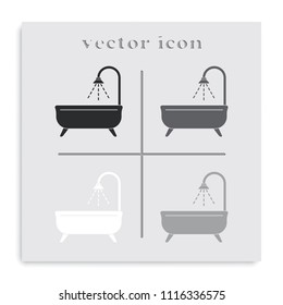 Shower flat black and white vector icon. Bathroom illustration.