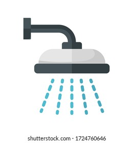 Shower flat icon. Colorful illustration of shower. Vector.