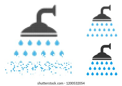 Shower icon in disappearing, dotted halftone and undamaged whole versions. Pixels are arranged into vector disappearing shower icon. Disappearing effect uses rectangular dots.