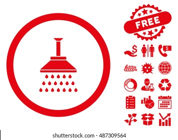 Shower icon with free bonus icon set. Vector illustration style is flat iconic symbols, red color, white background.