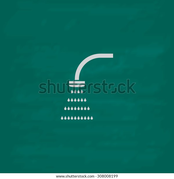 Shower. Icon. Imitation draw with white chalk on green chalkboard. Flat Pictogram and School board background. Vector illustration symbol