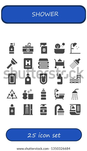 Shower Icon Set 25 Filled Shower Stock Vector Royalty Free 1350326684