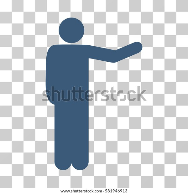 Showing Man vector pictograph. Illustration style is a flat iconic blue symbol on a transparent background.