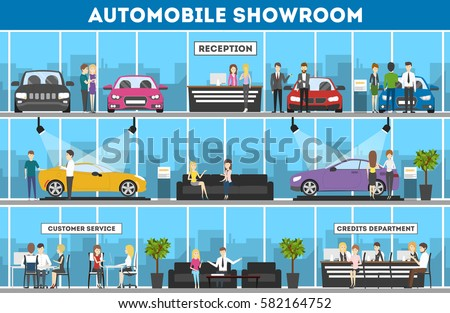 showroom interior set automobiles sell reception stock vector