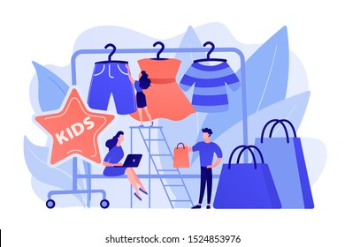 Showroom with kids clothes on hangers, designer and customers with shopping bags. Kids fashion, baby style showroom, kids clothes market concept. Pinkish coral bluevector isolated illustration