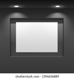 Showroom Panel. Vertical poster hanging on the wall in the interior. For Mock up Your Design. vector illustration.