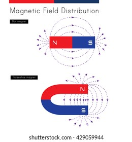 Shows the distribution of magnetic fields for a bar magnet and a horseshoe magnet