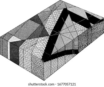 Shows the inferred structure in the vicinity of the Triangle. Arkose conglomerate: lines and ellipses; anterior basalt: black areas, vintage line drawing or engraving illustration.