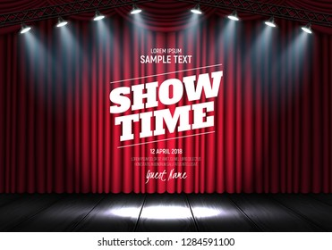 Showtime banner with curtain illuminated by spotlights. Scene for presentation. Vector illustration.