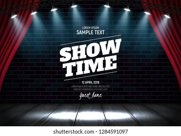 Showtime banner with curtain on brick wall background illuminated by spotlights. Vector illustration.