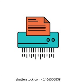 Shredder, Confidential, Data, File, Information, Office, Paper  Flat Color Icon. Vector icon banner Template. Vector Icon Template background
