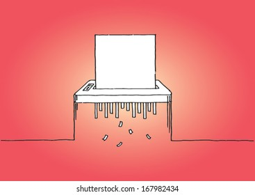 Shredder with customizable blank sheet of paper - vector sketch illustration