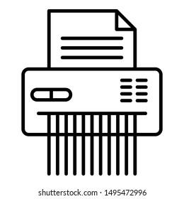 Shredder icon. Outline shredder vector icon for web design isolated on white background