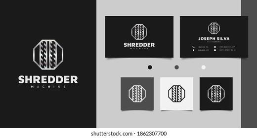 Shredder logo design with line concept in metal gradient