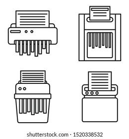 Shredder machine icons set. Outline set of shredder machine vector icons for web design isolated on white background