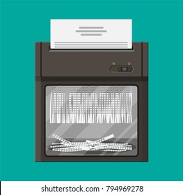 Shredder machine. Office device for destruction of documents. Vector illustration in flat style