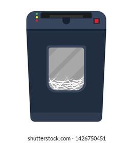 Shredder paper machine vector flat document destroy. Confidential business office secret. Paperwork  garbage equipment file