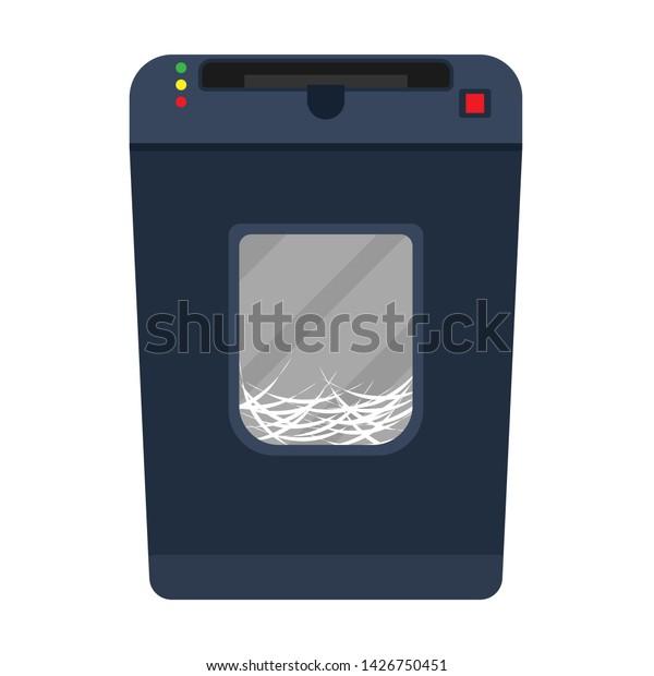 Shredder Paper Machine Vector Flat Document Stock Vector