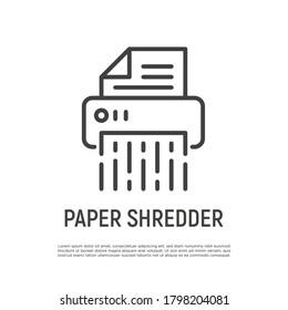 Shredder thin line icon. Office equipment. Destruction of confidential document. Vector illustration.