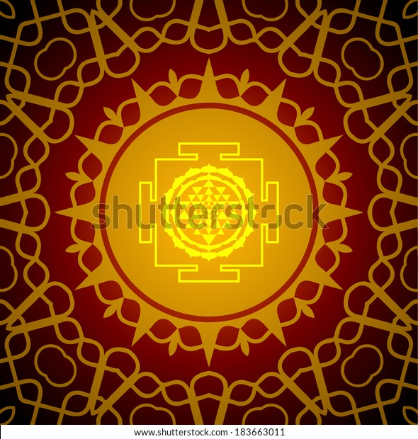 Shree Yantra Background Stock Vector (Royalty Free) 183663011